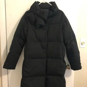 ♠ Kate Spade Neck Funnel-neck Puffer Coat w/ Bow ♠